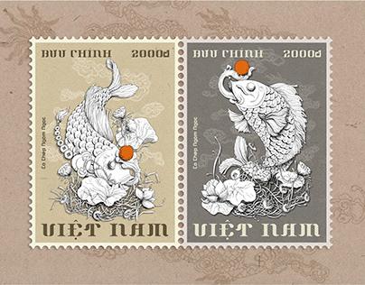 """""""Cá chép ngậm ngọc""""-Vietnamese postage stamps"""