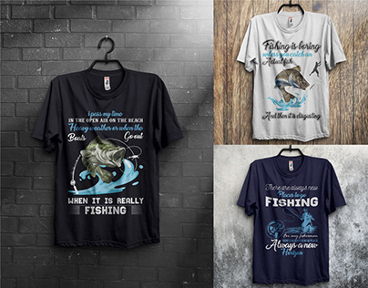 Fishing T-Shirts Design Bundle With Mockup