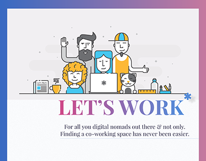 """Let's Work"": Co-Working Space concept app"