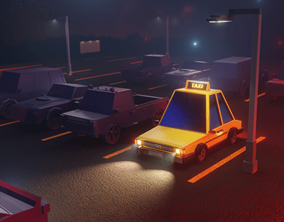 Taxi park - Modeling and Rendering