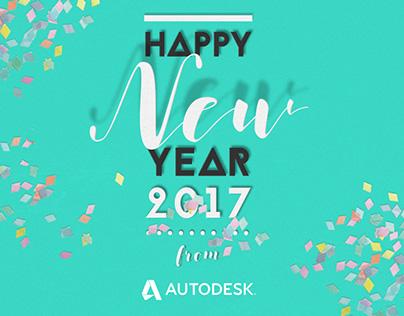 Happy New Year 2017 Autodesk e-card Design