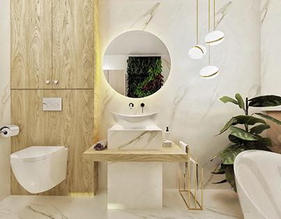 BATHROOM with green wall