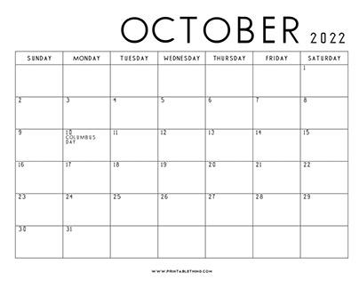 Blank Calendar October 2022.Printablething Printablething On Behance