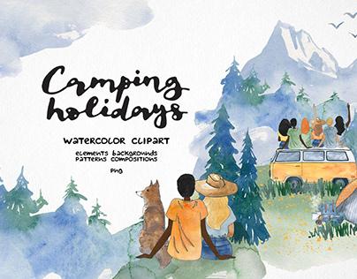 watercolor landscape camping clipart