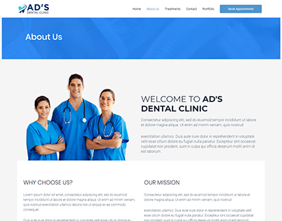 Ads Dental Clinic About Us Page UI