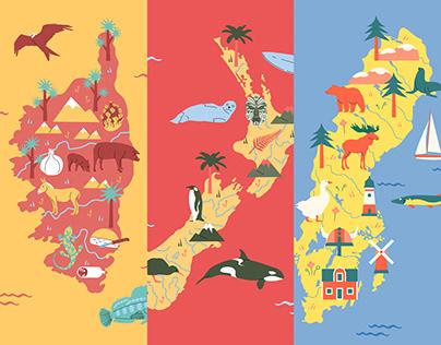 KORSIKA – NEUSEELAND – SCHWEDEN (A Poster Series)