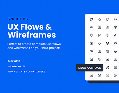 UX Flow & Wireframe Mega Icon Pack