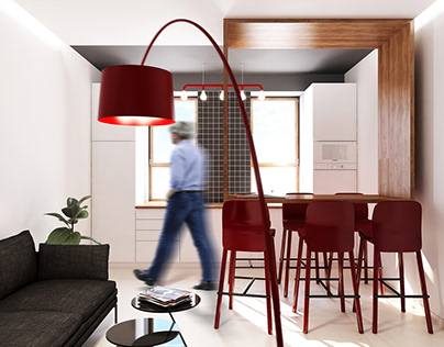 kitchen with red accents