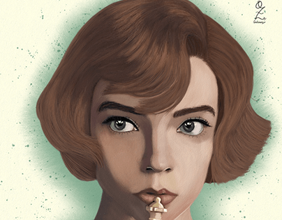 Queen´s Gambit Oz Galeano Portrait Drawing