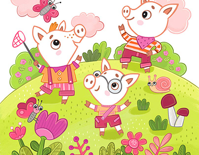 Learn colors with the three little pigs