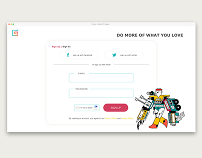 DailyUI 01 : Gumroad Sign Up & Sign In Page