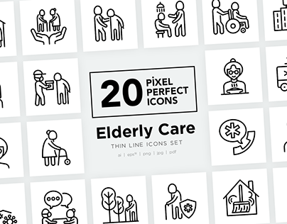 Elderly Care | 20 Pixel Perfect Thin Line Icons Set