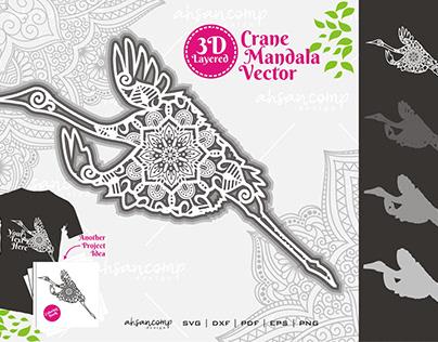 Crane Mandala Vector SVG 3D Layered FREE DOWNLOAD