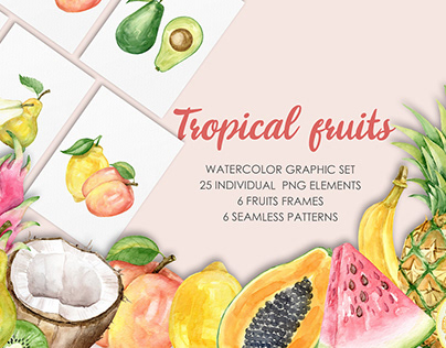 Tropical Fruits. Watercolor graphic set