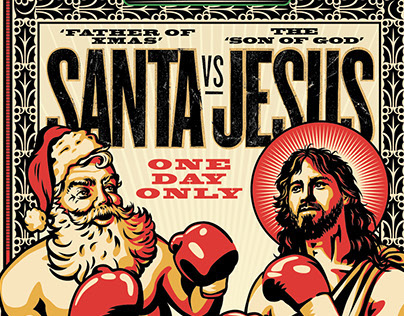 santa vs jesus illustration on behance - Jesus Santa