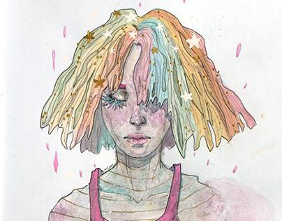 """Illustration """"Rainbow head"""""""