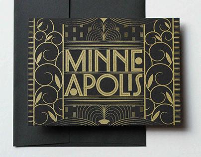 Minneapolis Screen-printed postcard