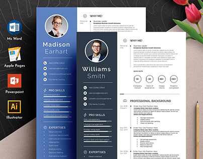 Professional Word Apple Pages Resume Cv Template