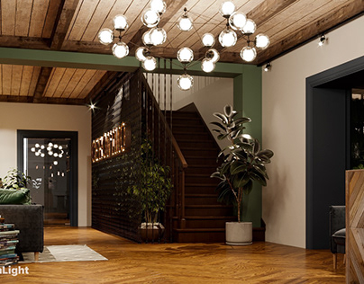 Interior visualization of an entrance area.