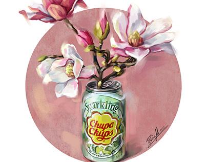 Magnolia in Chupa chups can digital illustration