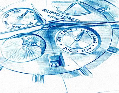 Watch sketches - Kickstarter project Filippo Loreti