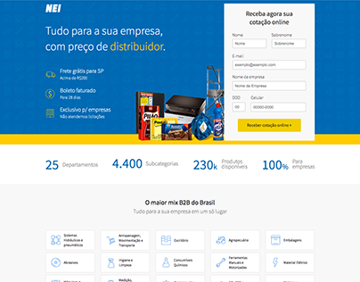 Landing page B2B for NEI.com.br