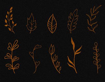 20 Gold Glitter Leaves