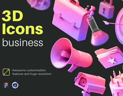 Multiangle 3D Icons / Business