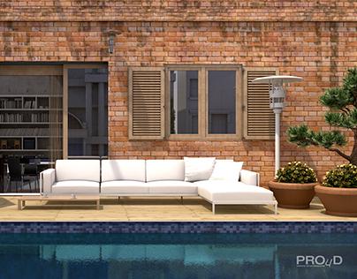 Pool side • Cinema 4D Physical render