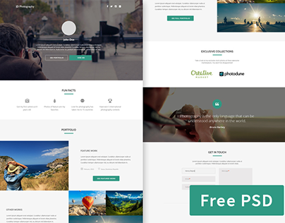 Grapher - Free photographer portfolio PSD template