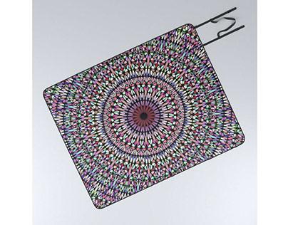 Happy Pastel Gravel Garden Mandala Picnic Blanket