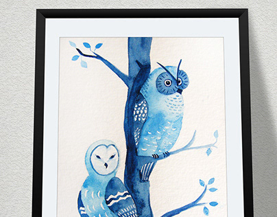 Owls - watercolor