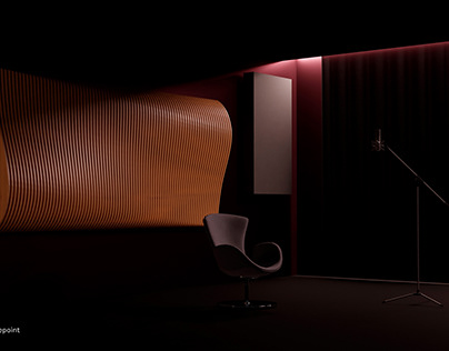 3D design of an acoustic system for a studio.