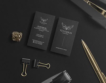 "Business card design for ""Tenebris"" Handmade Bookstore."