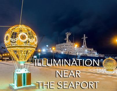 Illumination near the seaport Murmansk