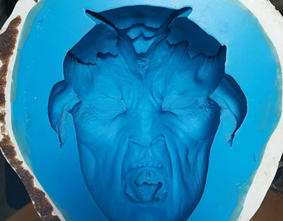 Thorn's face and horns mold (the angry faun)
