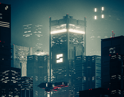 Sci Fi city concept - voxel art