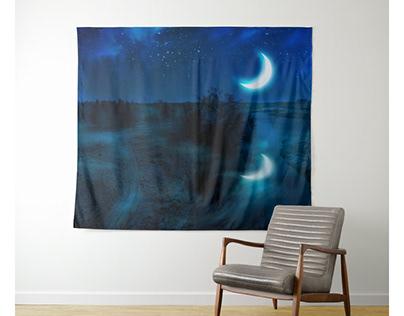Crescent moon above river