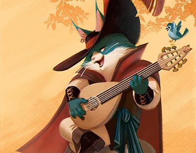 Cat Bard sings for his breakfast
