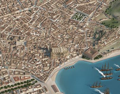 Málaga. Recreation illustrations