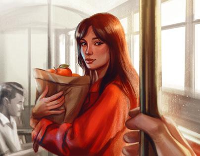 """""""La ragazza delle arance"""" Cover Illustration"""