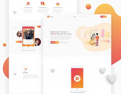 Landing page and logo design for dating app