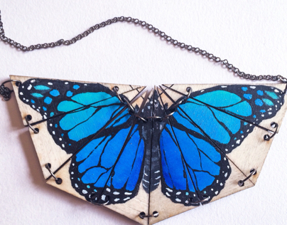 Hand painted reversible butterfly necklace