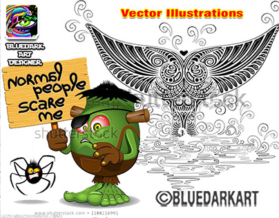 Funny or Boho Vector Illustrations © BluedarkArt