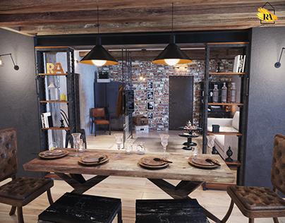 Гостиная-столовая в стиле Индастриал