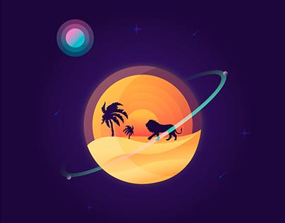 Illustration - Lion Moon
