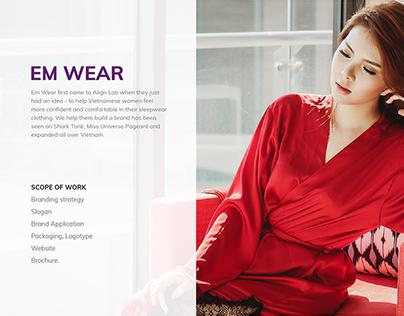 Emwear branding and packaging