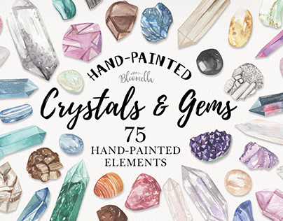 Crystals & Gems Watercolor Hainted Colourful Package