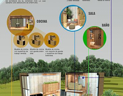 Diseño interno de espacio habitacional unipersonal