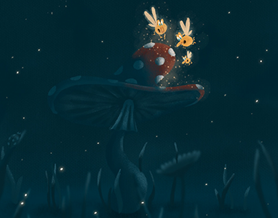 The short story of forest fairies. Book Illustration.